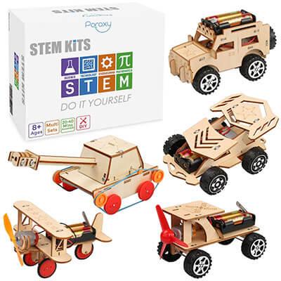 5 in 1 STEM Wooden Mechanical Model Cars Kits